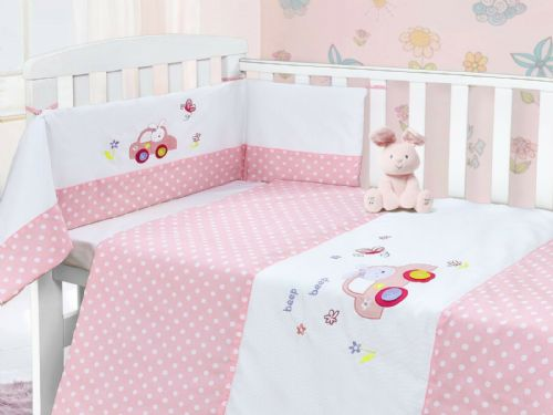 BABY COT NURSERY BEDDING 100% COTTON  2PC BALE COT QUILT & BUMPER GIRLS PINK POLKA BEEP CAR